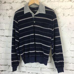 VTG CAMPUS 1970s VELOUR SHIRT Striped Collar LS